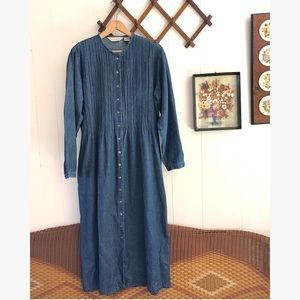 Vtg Denim Long Sleeve Maxi Dress